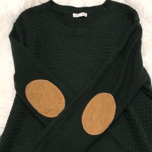 Hunter green elbow patch pullover